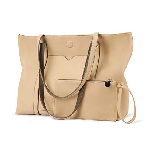 ECOSUSI Reversible Tote Handbag for Women Vegan Leather Shoulder Bag Tote Purse with Zipper Pouch