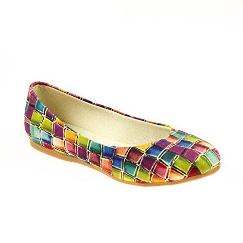 GOBY Damen Ballerina Textil Bunt, Schuhgröße:42