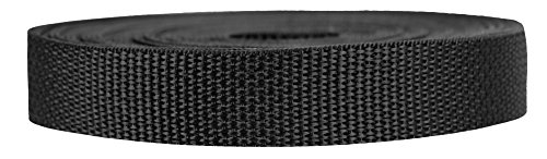 """Strapworks Lightweight Polypropylene Webbing - Poly Strapping for Outdoor DIY Gear Repair, Pet Collars, Crafts – 3/4 Inch by 10, 25, or 50 Yards, Over 20 Colors, Black, 3/4"""" x 25 yard"""