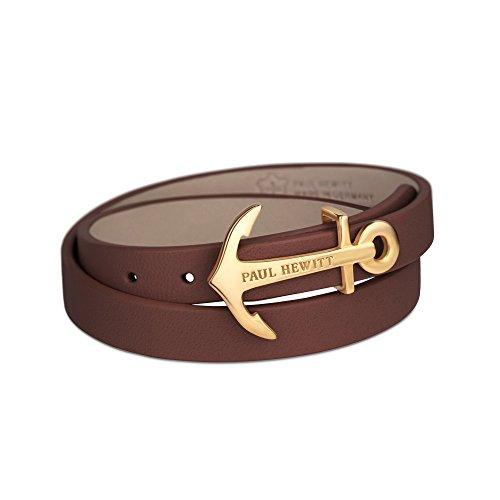 PAUL HEWITT Damen Wickelarmband North Bound aus Leder in Braun und Anker aus Edelstahl in Gold Armband-Länge 37,5 cm