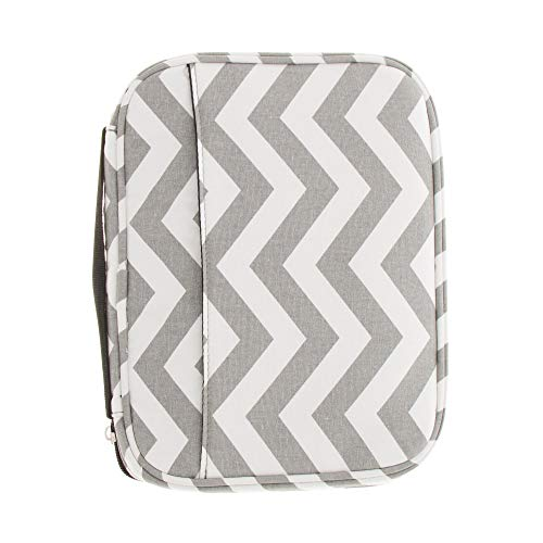 Good Ruby Premium Canvas Compact Bible Cover with Carrying Handle, Book Protector with Pockets Colorful Chevron Bible Case with Zipper and Pen Holder for Women, Teens, Females (Gray Chevron)