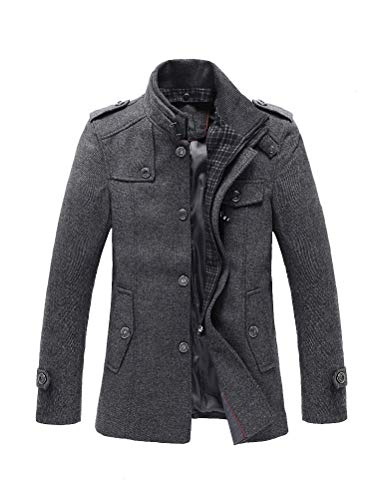 FTCayanz Kurzmantel Herren Mantel Wintermantel mit Stehkragen Herrenmantel Kurz Winter Jacke Business Freizeit Grau XL