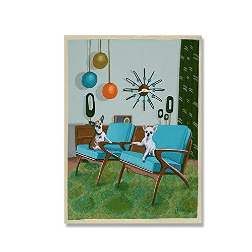 Zplbdw Mid Century Modern Eames Retro Limited Edition Druck von Original-Gemälde Chihuahuas Danish Chairs Poster -50x70cmx1pcs -Kein Rahmen