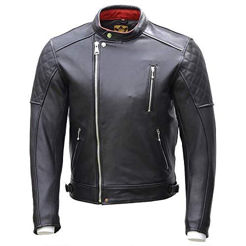 Goldtop Bobber CE - Chaqueta de motocicleta aprobada por la AAA, color negro | blindada con armadura extraíble CE Knox Microlock (46 pulgadas)
