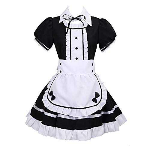 Xiongtai Anime Mio Akiyama Cosplay Costume, Mio Akiyama Dress Maid Costume School Cosplay Outfits Fancy Dress Uniform Dark Blue Blazer and Skirt for Halloween Carnival Party