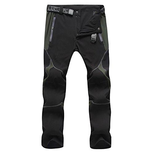 SUKUTU Sportswear SU001, Pantaloni Traspiranti, Leggeri, Impermeabili, Si asciugano Velocemente, per Escursioni in Montagna (XL(Vita 32'-33'), Nero/Grigio)