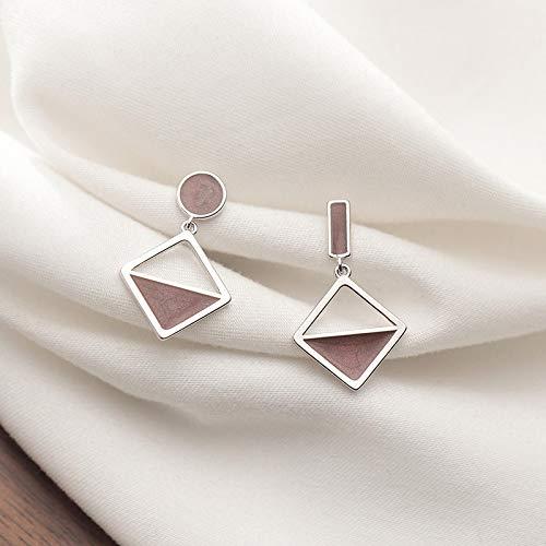 N/A 925 Sterling Silber Mode Geometrische asymmetrische Anhänger Ohrringe Damen Stil Matt Ohrringe Exquisiter Schmuck