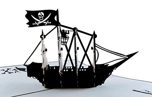 iGifts and Cards Pirate Ship 3D Pop up Greeting Card - Flag, Vessels,...
