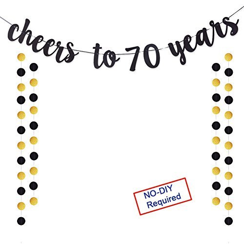Threemart Cheers to 70 Years Gold Glitter Banner for Adult 70th Birthday Party Wedding Anniversary Party Decorations