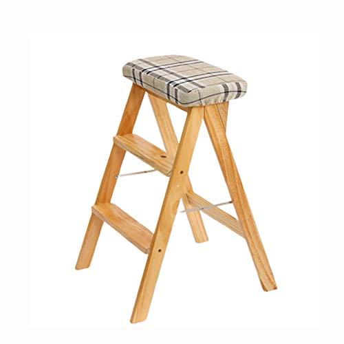 ZCF Stufenleitern Holztrittschemel, Leiter Stuhl Küchenhocker Sitzmultifunktions Folding Mit Cushionfor Haus Oder Büro-Dienstprogramm Hoch Bank 4 Farben (Color : Style4)