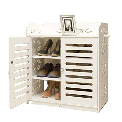 Jklt Práctico zapatero portátil de almacenamiento con accesorios de puerta para zapatos, fácil de usar (color: blanco, tamaño: 64 x 32 x 69 cm)