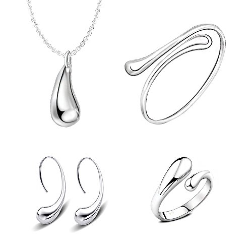 MA&SN 4 Pieces Jewelry Set S925 Sterling Silver Water Drop Shape Earrings Bangle Necklace Ring Women Girl Gift