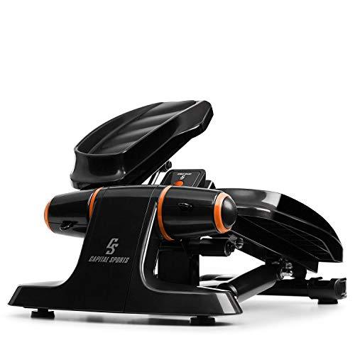 CapitalSports Galaxy Step - Máquina de Step, 2 Power Ropes de Apoyo, hasta 120 Kg,Ordenador de Entrenamiento, App FitShow, Bluetooth, Sistema hidráulico de absorción de pisada, Pantalla LCD, Naranja