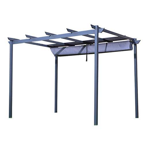WSN Pérgola de toldo retráctil para Exteriores de Aluminio Carpa Exterior Protección contra la Lluvia y los Rayos UV