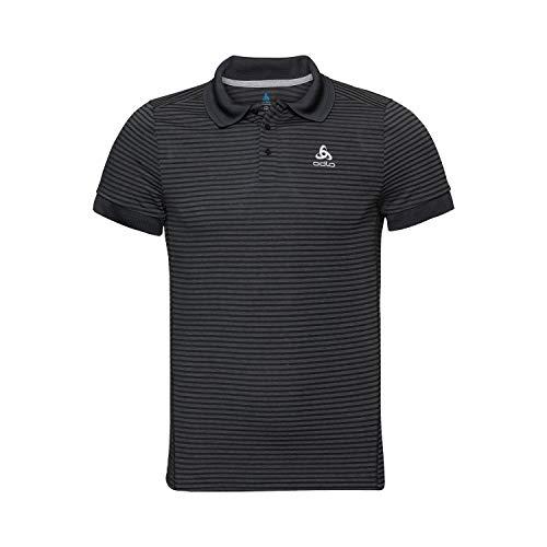 Odlo Herren Polo Shirt s/s Nikko Dry Poloshirt, Black Steel Grey-Stripes, L