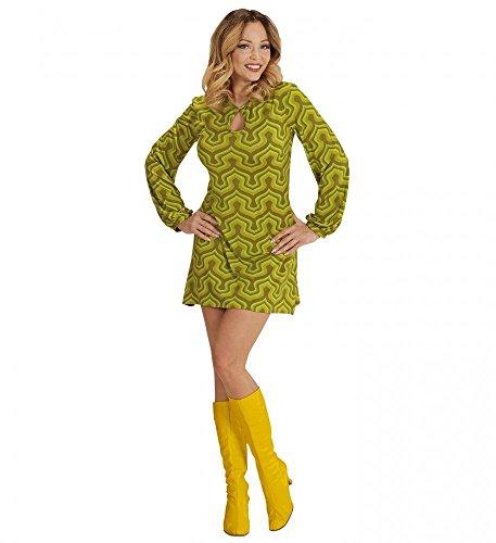 70er Jahre Retro KLEID mit Tapetenmuster Grün Disco Damen Kostüm Siebziger 70s, Größe:XL