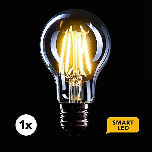 CROWN LED SMART Filament Glühbirne FL07_S, E27 Fassung, Dimmbar, 6W, 2700K, Warmweiß, 230V, Klare Lampe zur hellen Beleuchtung - Steuerbar per App für das smarte Zuhause