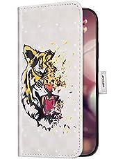 Uposao Compatible con Huawei Honor 7A Funda Purpurina Strass Bling Glitter Funda Cuero Piel Wallet Carcasa Billetera Funda Libro Flip Case con Cierre Magnético,Ranuras Tarjetas,Tigre