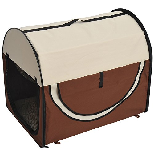 Pawhut D1-0152 Faltbare Transportbox für Haustier, XL, kaffeebraun/Creme
