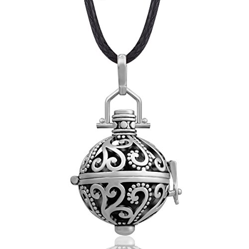 """EUDORA Harmony Ball Necklace 18mm Antique Silver Chime Bell Pendant Women Gift, 30"""" & 45"""" Cord"""