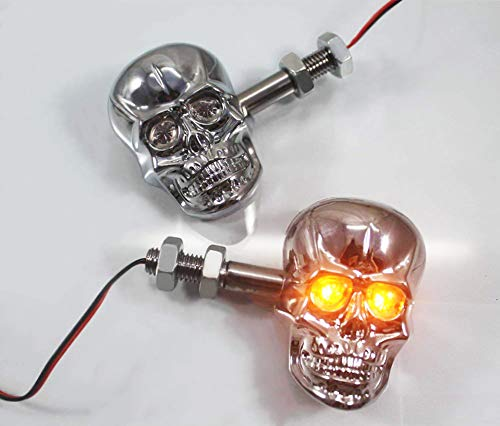 PerfecTech Motorcycle 10mm Screw Skull Head LED Amber Turn Signal Indicator Light (Chrome)