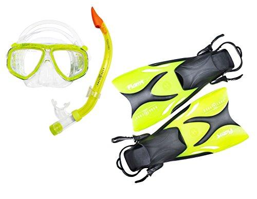 Schnorchel Set Kinder - vom Top Hersteller Aqua Lung - bestehend aus Flossen Schnorchel Tauchmaske - Wertige Junior Schnorchelausrüstung - perfekte Passform (exklusiv Lime transparent 33-36