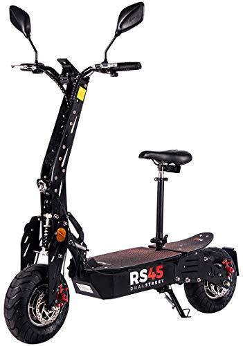 eFlux RS45 Pro Elektroroller Scooter - 2000 Watt Allrad Hubmotoren - Straßenzulassung - 45 Km/h Geschwindigkeit - Scheibenbremsen - E-Scooter (RS45 Pro Schwarz)