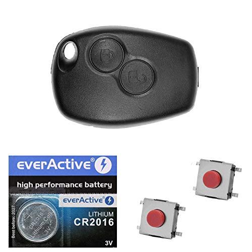 Auto Schlüssel Funk Fernbedienung 1x Gehäuse 2 Tasten + 2X Mikrotaster + 1x CR2016 Batterie kompatibel mit Renault/Dacia/Opel