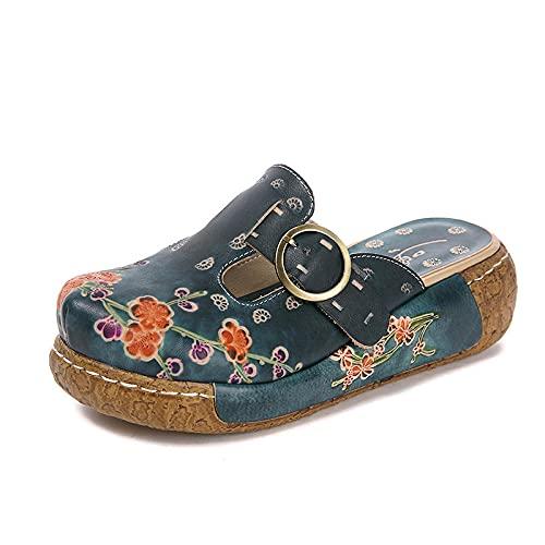 ypyrhh Sandalias de Talón Abierto para Mujer,Pastel de Canciones con Zapatillas Baotou, Zapatos de Plataforma Gruesos-Blue_37,Sandalias con Punta Abierta Hombre
