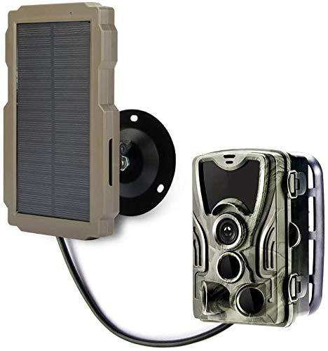 SuntekCam Panel solar de repuesto para cámara de caza con cable de carga USB, protección contra caídas, 9 V, 2400 mAh recargables compatibles con cámara de caza, accesorios de batería duraderos