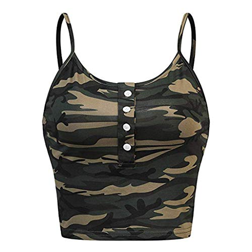 Momoxi Ärmelloses Damen O-Neck Button Up Casual Camouflage Print Vest Cami Tank Top Sleeveless Sommer T-Shirt Armee grün M