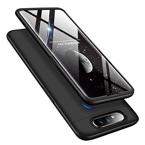 MRSTER Samsung A80 Hülle 360 Full Body Schutz Schutzhülle Anti-Kratzer Stoßfest Ultra Dünn Hart PC Bumper Handyhülle Kompatibel mit Samsung Galaxy A80 / A90. 3 in 1- Black