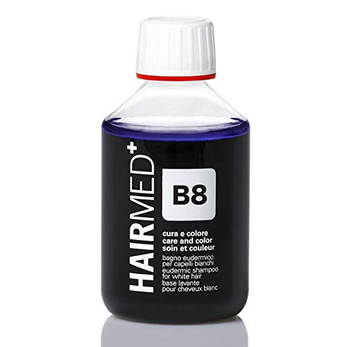 HAIRMED – B8 Champú antiamarillo profesional – Ideal para cabellos blancos, grises,...