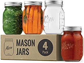 Regular-Mouth Glass Mason Jars, 16-Ounce (4-Pack) Glass Canning Jars with Silver Metal Airtight Lids and Bands with Measurement Marks, for Canning, Preserving, Meal Prep, Overnight Oats, Jam, Jelly,