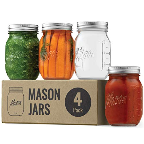 Premium Glass Mason Jars (474ml) Glass Jars with Silver Metal Airtight Lids for Meal Prep, Food Storage, Canning, Drinking, for Overnight Oats, Jelly, Dry Food, Salads, Yogurt (4 Pack)