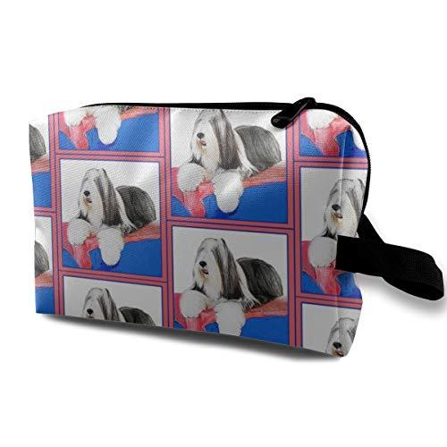 Bearded_Collie_6968 Kulturbeutel, Kosmetiktasche, tragbare Make-up-Tasche, Reise-Organizer, Tasche für Frauen und Mädchen, 25,4 x 12,7 x 15,7 cm