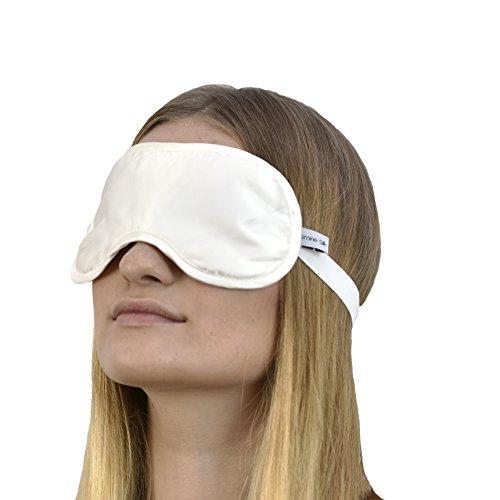 JASMINE SILK Luxus 100% Seide Schlafmaske Augenmaske Reisen Silk eye mask - Elfenbein