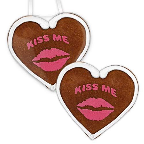Lebkuchenherz 12cm - Kiss me | Lebkuchen Herz Geschenk | Geschenk für Freundin | Jahrestag Geschenk & Valentinstagsgeschenk für Sie | Geschenkideen & Lebkuchenherzen online kaufen von LEBKUCHEN WELT