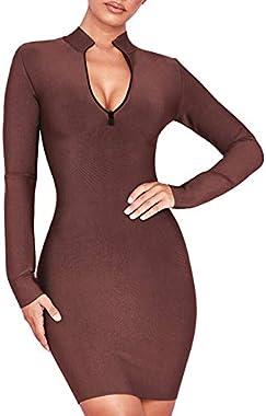 UONBOX Women's Fall Long Sleeves Zip Front Club Party Mini Bodycon Bandage Dress