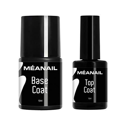 Top Coat Base Coat Set für UV Gelnägel - UV Gel Nagellack/Shellack Unterlack Überlack für Gelnägel und Shellac Meanail Paris – VEGAN
