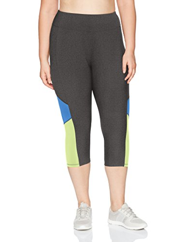 JUST MY SIZE Women's Plus Size Active Pieced Stretch Capri, Granite Heather/Odyssey/Washed Lime, 2X