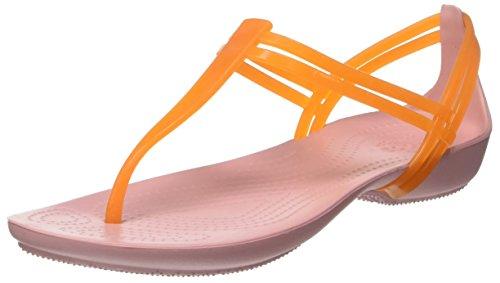 Crocs Women's Isabella T-Strap Sandal Flip Flop, Active Orange/Petal Pink, 10 M US