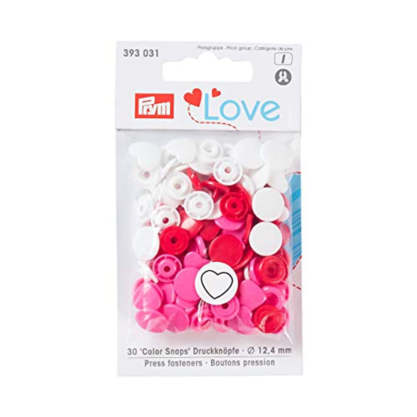 PrymLove Heart Shape Non-Sew ColorSnaps 12.4mm Snap Fasteners by Prym Love-Assorted Pack of Red, White and Bright Pink (30pc), 12 x 7 x 2 cm