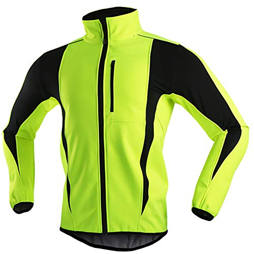Winter Fahrradjacke Damen, Wasserdicht Atmungsaktiv Thermo MTB Radjacke Reflektierend Winddicht Warme Winterjacke Regenfest Laufjacke, für Radfahren/Joggen/Wandern,Grün,XXL