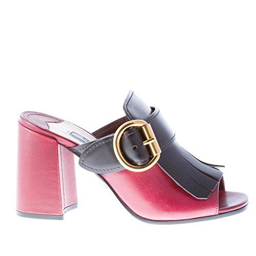Prada Donna Sabot Aperto in Pelle Amaranto con Maxi Frangia Nera e Fibbia. Tacco 9 cm Color Multicolore Size 36