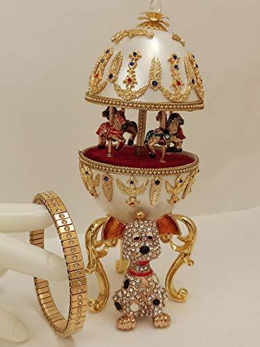 Caja de música con diseño de carrusel para perros de lujo, diseño único para adolescentes, estilo FABERGE adolescente, hermana huevo natural de 400 mano Swarovski y pulsera de oro de 24 quilat