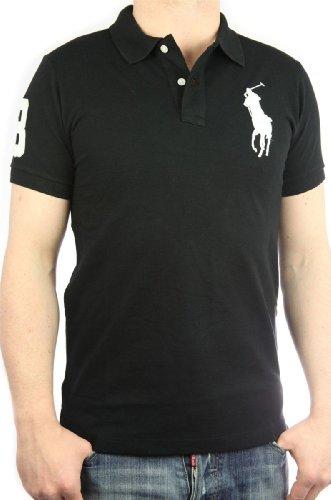 Polo by Ralph Lauren Big Pony Herren Polo-Shirt schwarz - weiß, slim fit Gr. S, men