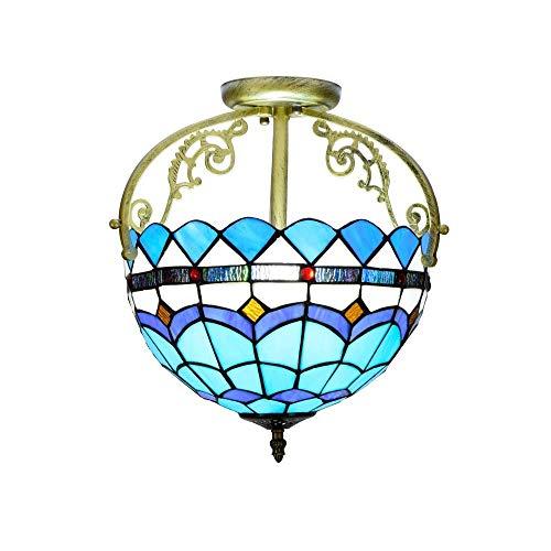 RONGW JKUNYU Tiffany - Lámpara de techo de 30,5 cm, estilo mediterráneo, color azul marino Tiffany, lámpara de techo, estilo Tiffany