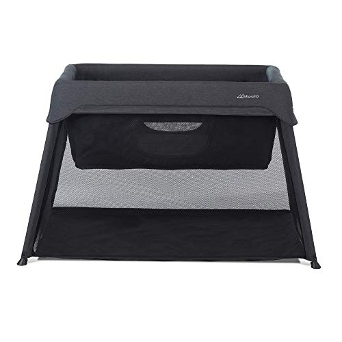 Micralite 3-in-1 Sleep & Go Portable Travel Crib - Carbon/Grey - Converts from Newborn Crib to Infant Bed & Playard - Extendable Plush Mattress Included - Suitable from Birth to 36 Months