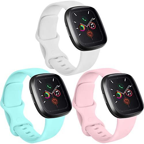 Funeng 3 Pack kompatibel mit Apple Watch Armband 38mm 40mm 42mm 44mm, Weiche Silikon Sport Ersatz Armband für iWatch Series 6 5 4 3 2 1 (Weiß/Rosa/Hellblau, 38mm/40mm S/M)
